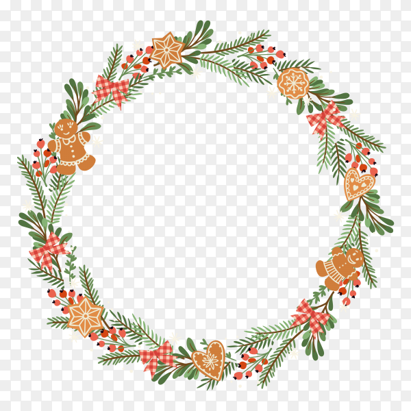 Round Christmas wreath illustration on transparent background PNG