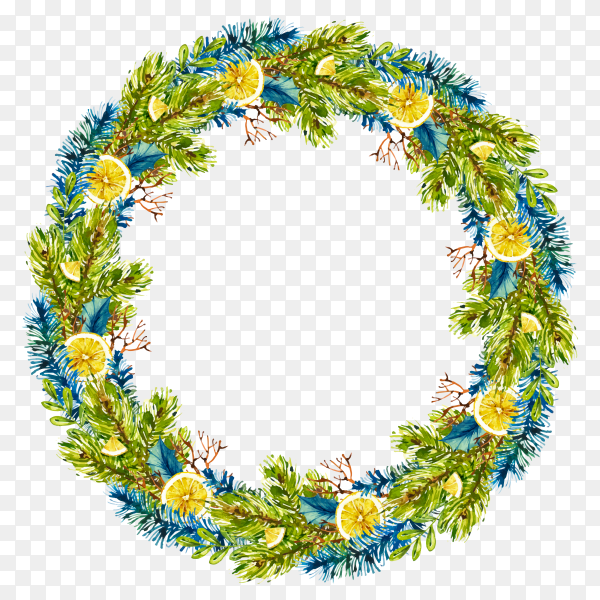 Round Christmas wreath watercolor on transparent background PNG