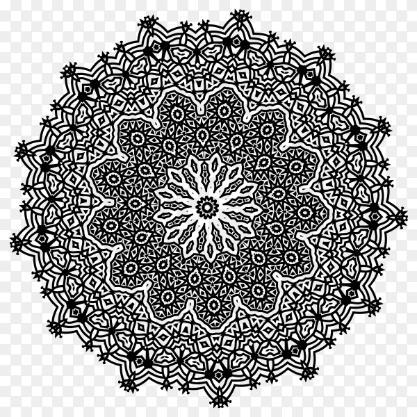 Round ornament outline mandala on transparent background PNG