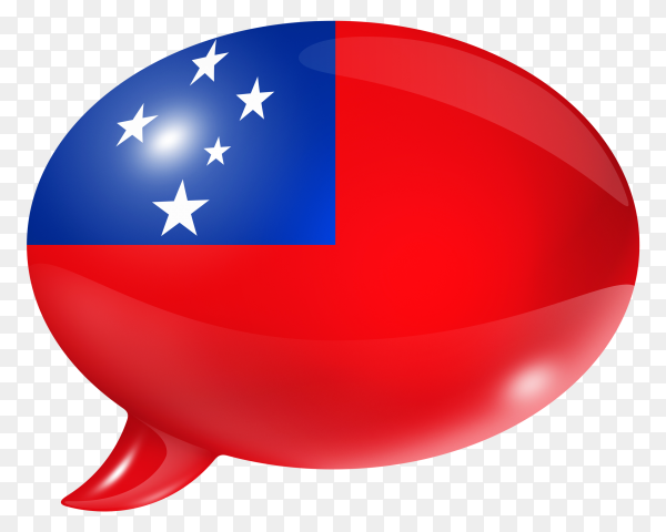 Samoa flag shaped speech bubble on transparent background PNG