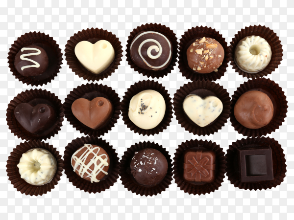 Set of delicious chocolate bonbons on transparent background PNG