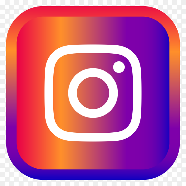 Shiny square Instagram icon with gradient effect on transparent background PNG