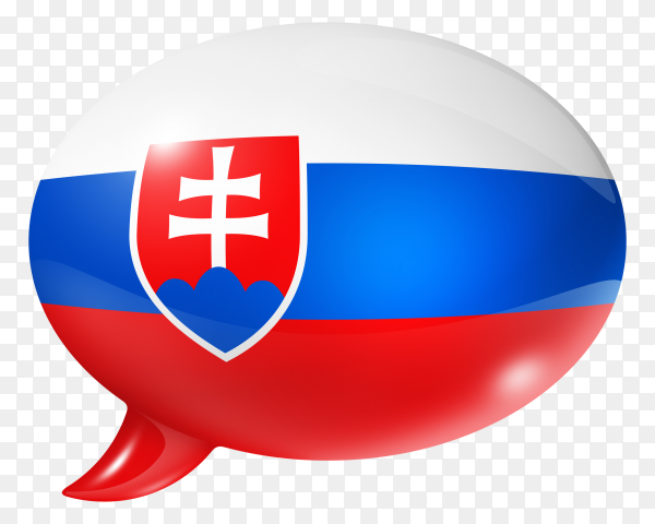 Slovakia flag shaped speech bubble on transparent background  PNG