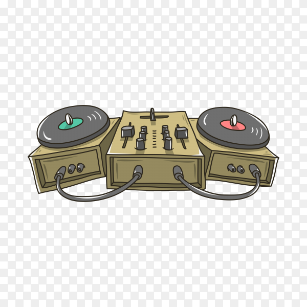 Sound mixer and turntables cartoon illustration on transparent background PNG