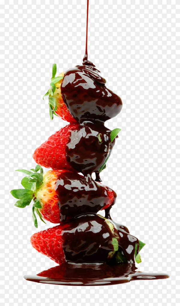 Strawberry with chocolate on transparent background PNG