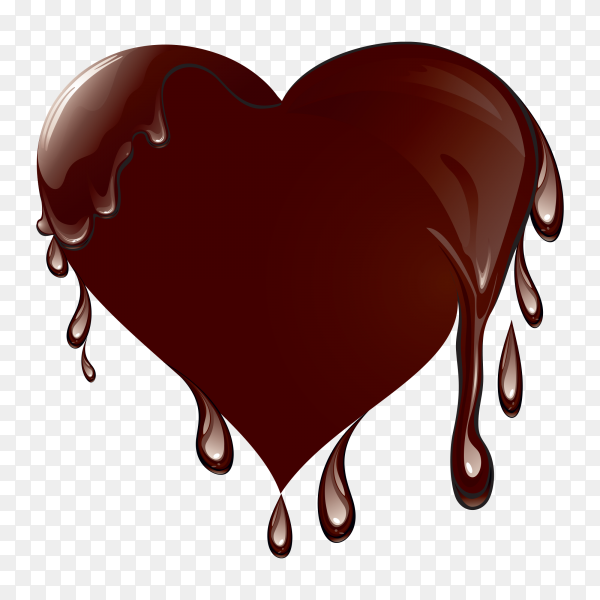 Tasty chocolate in the heart form isolated on transparent background PNG