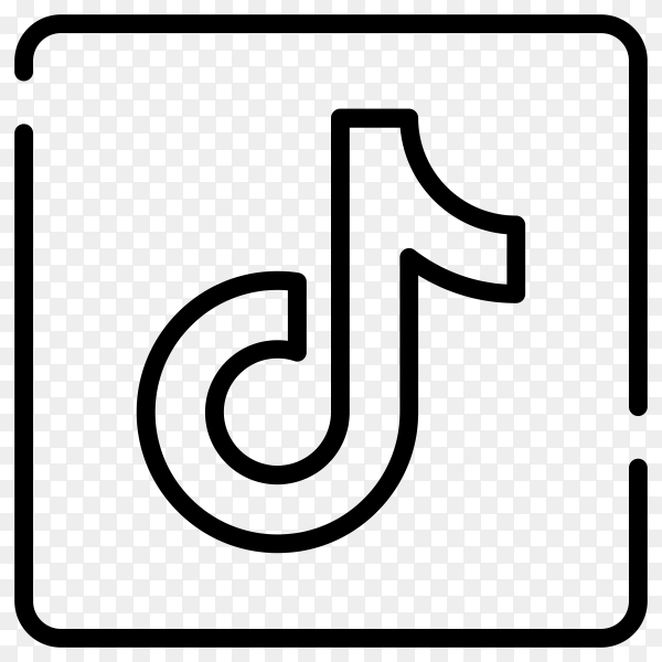Tiktok icon with flat design on transparent background PNG