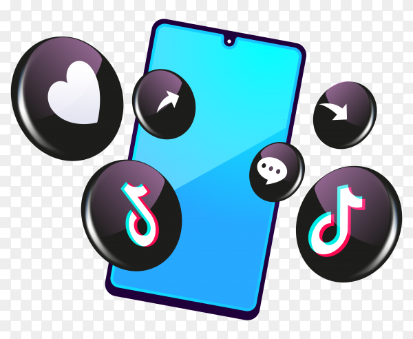 Tiktok 3d social media icons with smartphone symbol on transparent background PNG