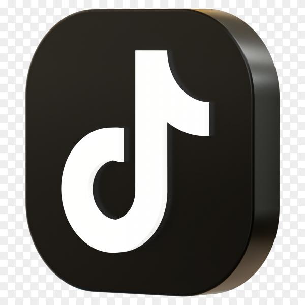 Tiktok logo 3d icon rendering isolated Premium vector PNG