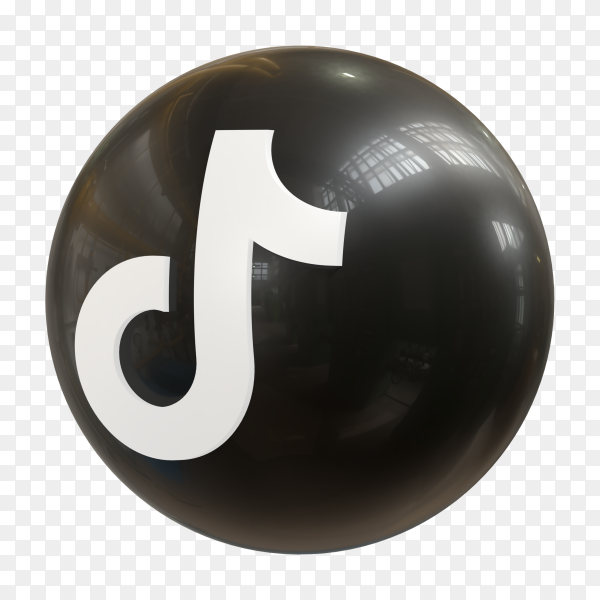 Tiktok logo 3d icon rendering isolated on transparent background PNG