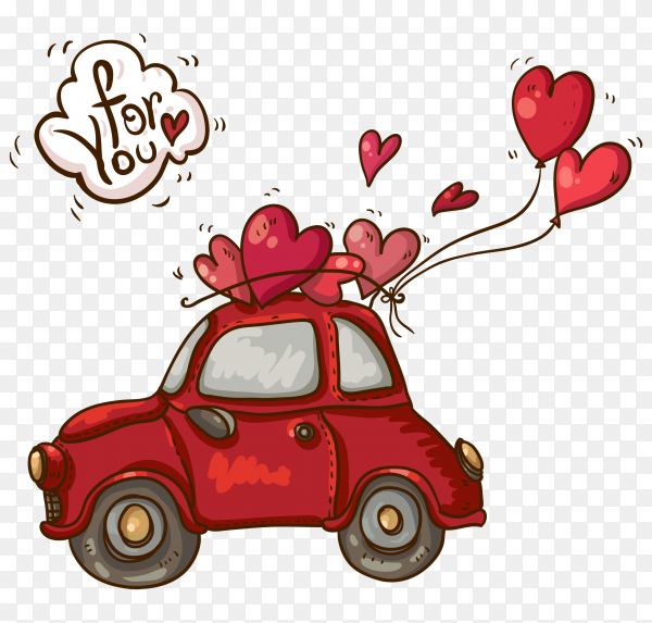Valentines day card with red car and balloons shaped heart on transparent background PNG