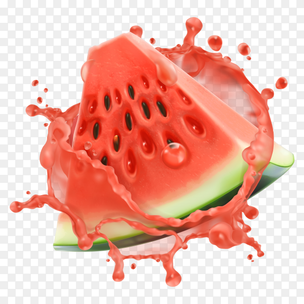 Watermelon with juice splash on transparent background PNG