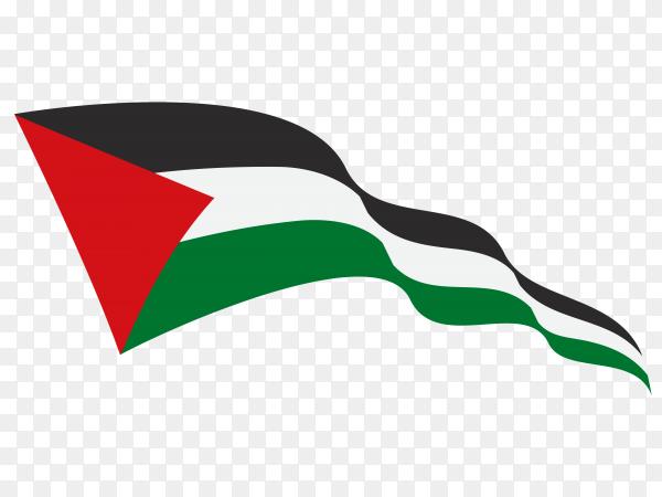 Waving flag Palestine on transparent background PNG