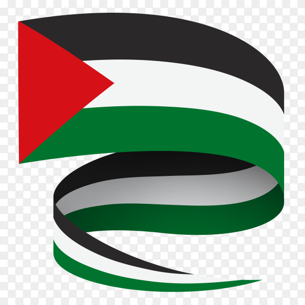 Waving Palestine flag abstract on transparent background PNG