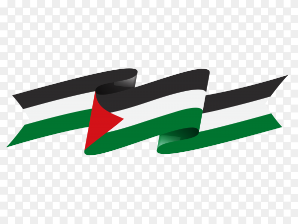Waving ribbon or banner with Palestine flag on transparent background PNG