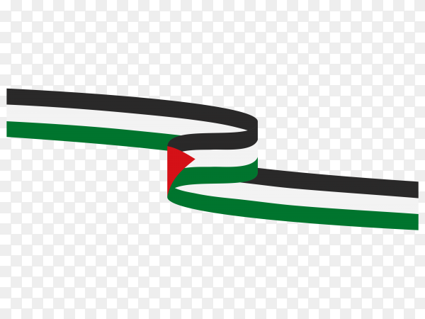 Waving ribbon with Palestine  flag on transparent background PNG
