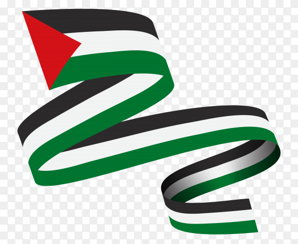 Waving ribbon with Palestine flag premium vector PNG