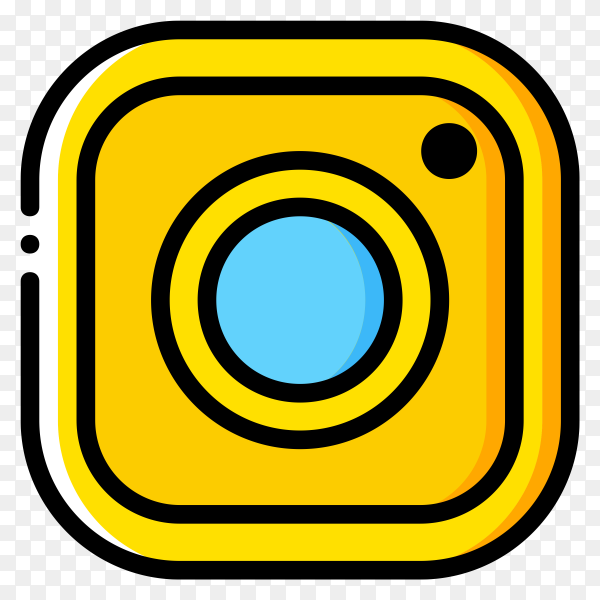 Yellow Instagram icon on transparent background PNG