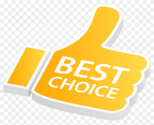 Yellow best choice with thumbs up on transparent background PNG