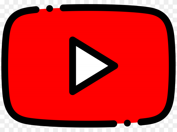YouTube player icon on transparent background PNG