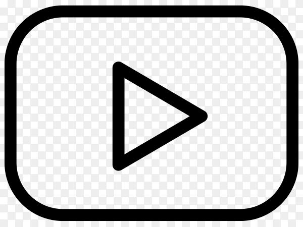 YouTube player icon with black color on transparent background PNG