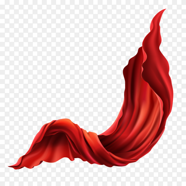 3d realistic flying red fabric. flowing satin cloth isolated on transparent background PNG