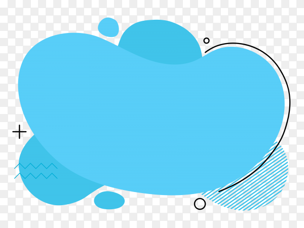 Abstract blue liquid shape on transparent background PNG