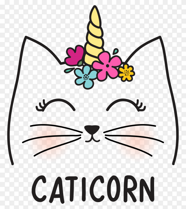 Cute cat with horn and flowers on transparent background PNG