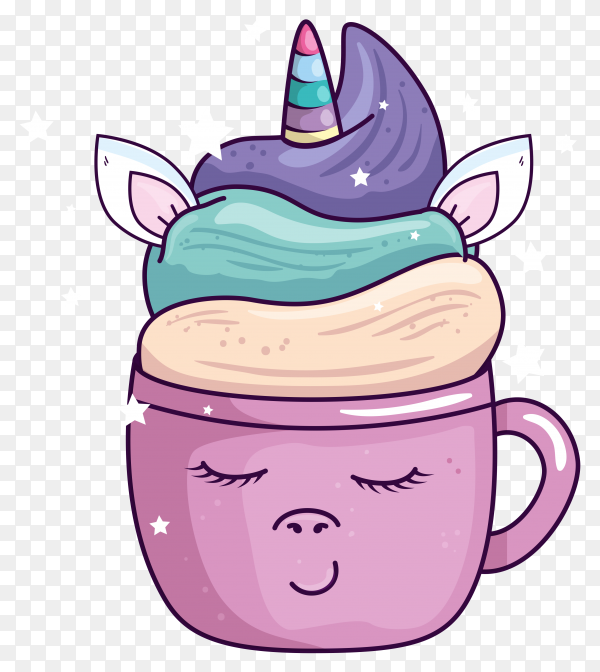 Cute cup unicorn with stars decoration kawaii design on transparent background PNG
