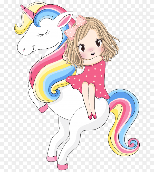 Cute girl sitting on the unicorn on transparent background PNG