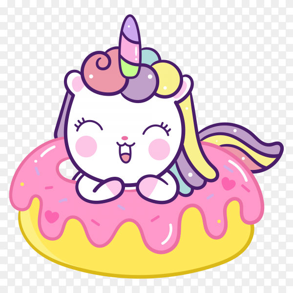 Cute unicorn with donut cartoon on transparent background PNG