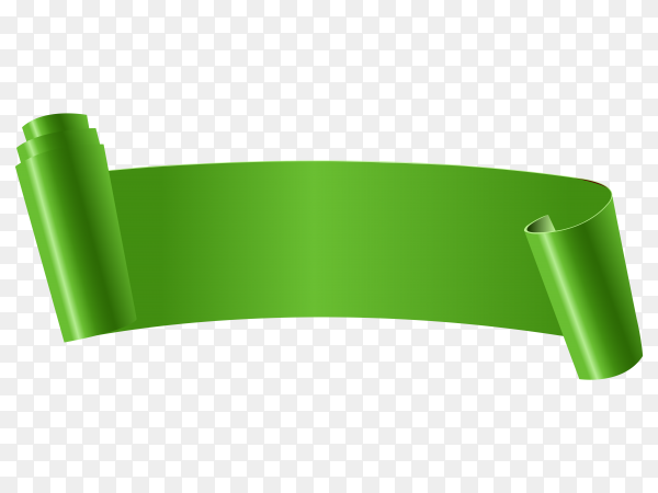 Green curved paper banner ribbon on transparent background PNG