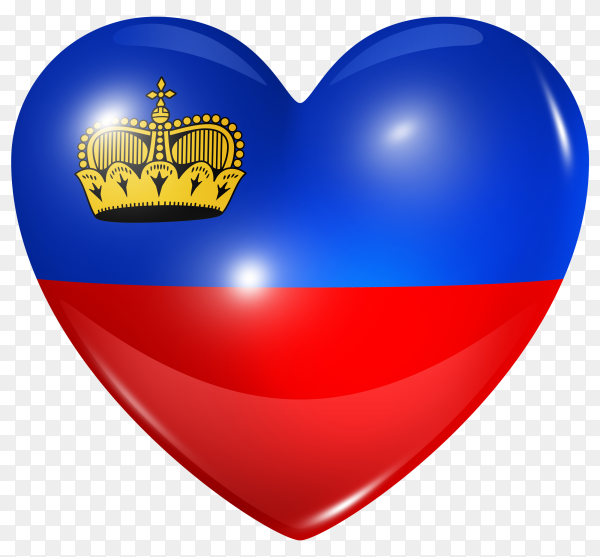 Liechtenstein flag in heart shape on transparent background PNG