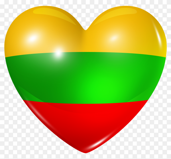 Lithuania flag in heart shape on transparent background PNG