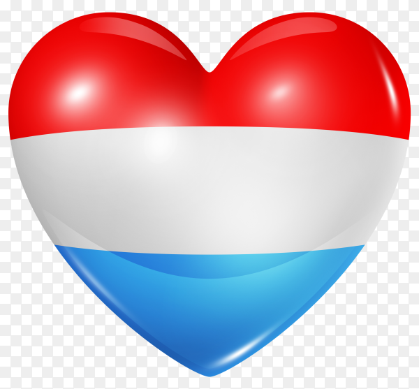 Luxembourg flag in heart shape on transparent background PNG