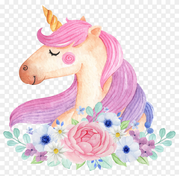 Magical unicorn with flowers isolated on transparent background PNG
