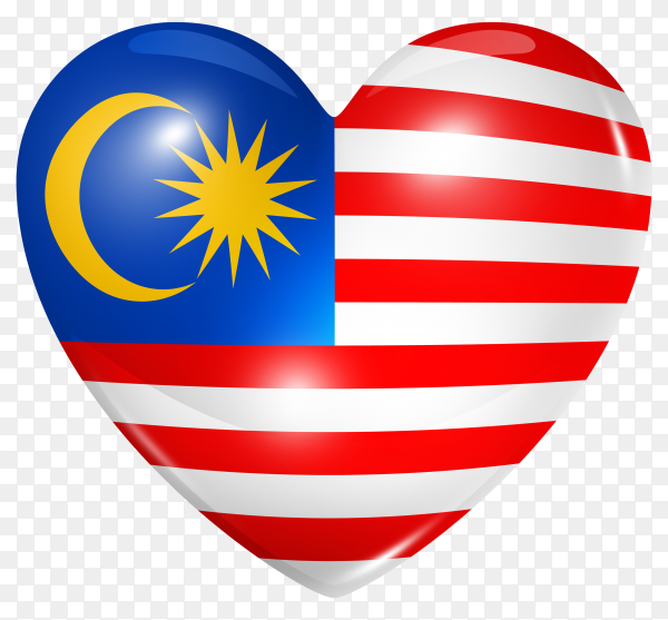 Malaysia flag in heart shape on transparent background PNG