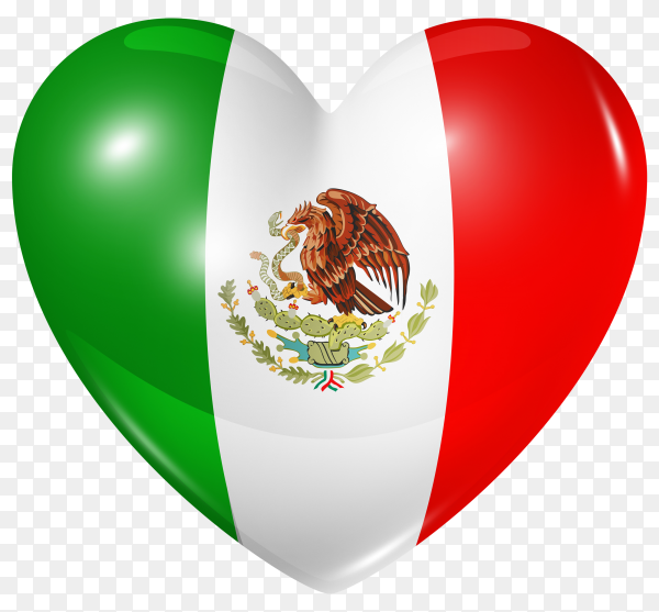 Mexico flag in heart shape on transparent background PNG