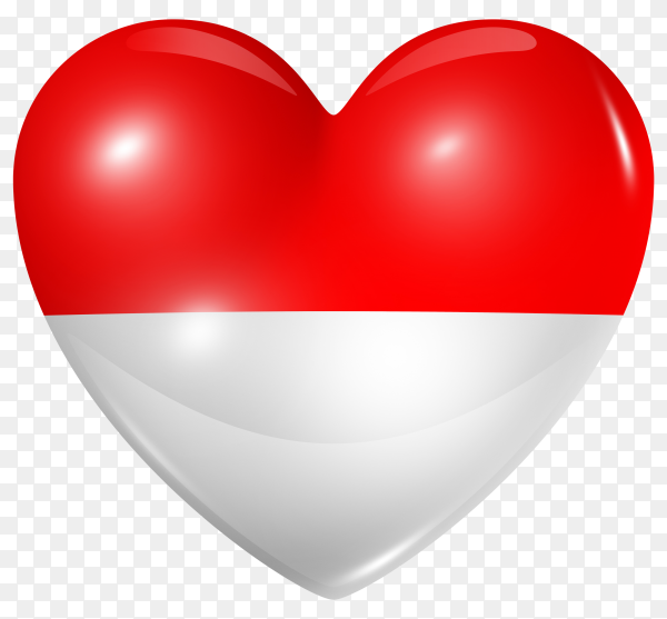 Monaco flag in heart shape on transparent background PNG