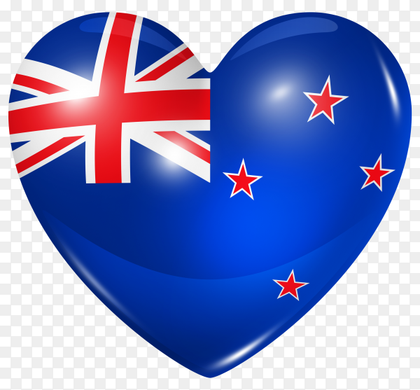 New Zealand flag in heart shape on transparent background PNG