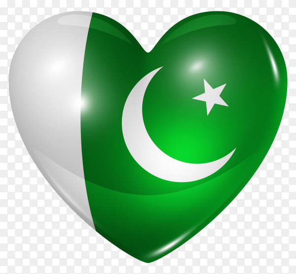 Pakistan flag in heart shape on transparent background PNG