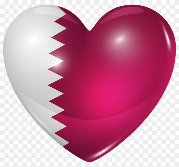 Qatar flag in heart shape on transparent background PNG