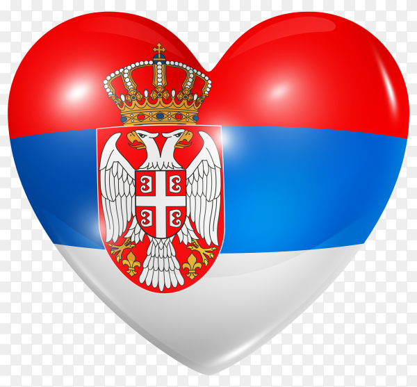 Serbia flag in heart shape on transparent background PNG