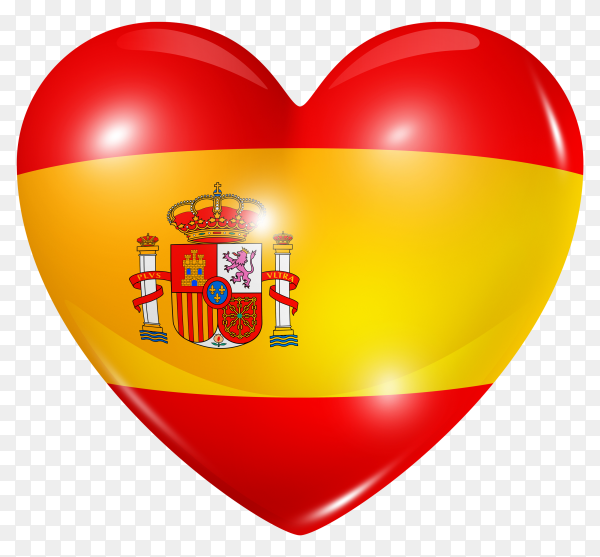 Spain flag in heart shape on transparent background PNG