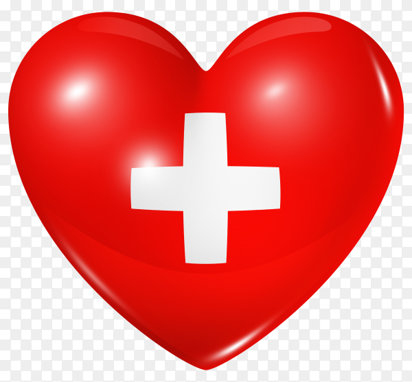 Switzerland flag in heart shape on transparent background PNG