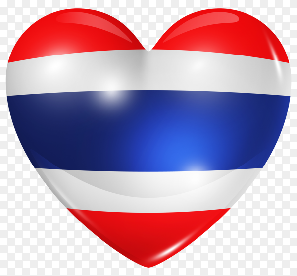 Thailand flag in heart shape on transparent background PNG