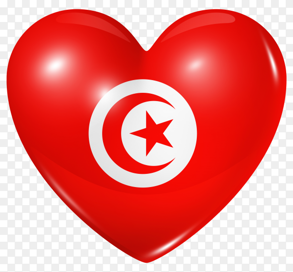 Tunisia flag in heart shape on transparent background PNG