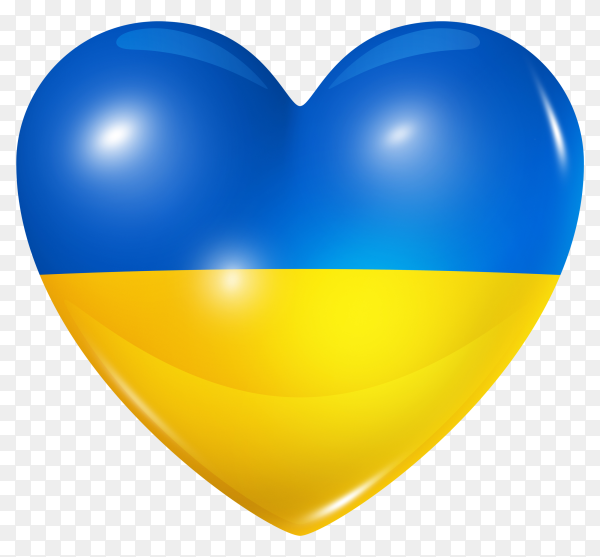 Ukraine flag in heart shape on transparent background PNG