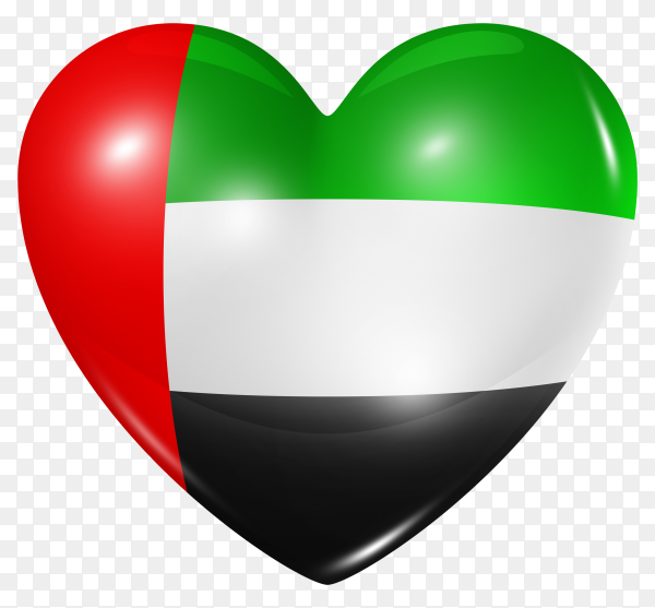 United arab emirates flag in heart shape on transparent background PNG