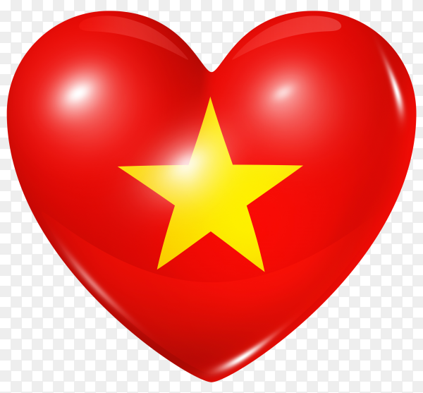 Vietnam flag in heart shape on transparent background PNG